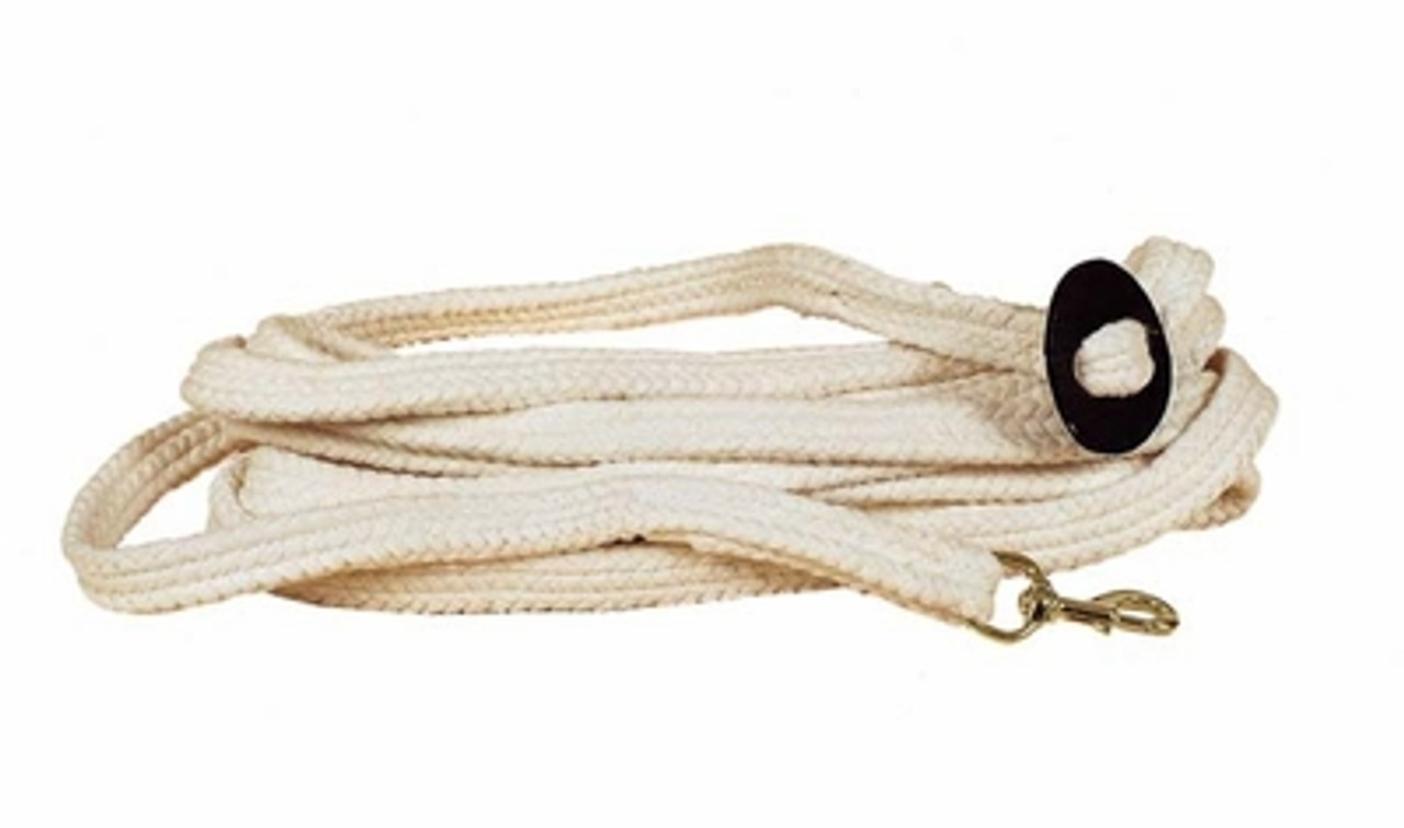 English or Western Horse 25/' Flat Cotton web Lunge Line w// Brass Chain w// Snap