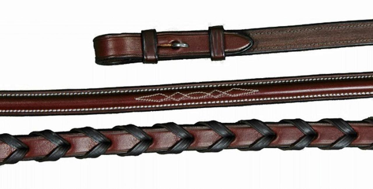 Brown Vespucci Raised Fancy Stitch Laced Leather Reins Oakbark Hook-Stud Ends