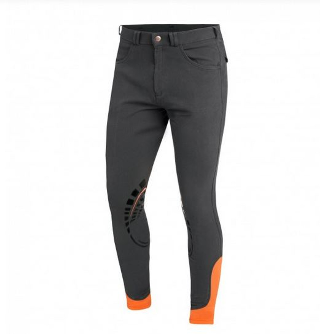 af48f0e91c027 Schockemohle Draco Knee Patch Breeches for Men grey/orange front
