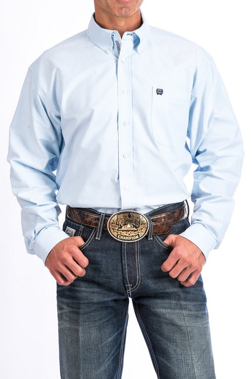 Cinch Mens Classic Fit Long Sleeve Button Down One Open Pocket Solid Shirt