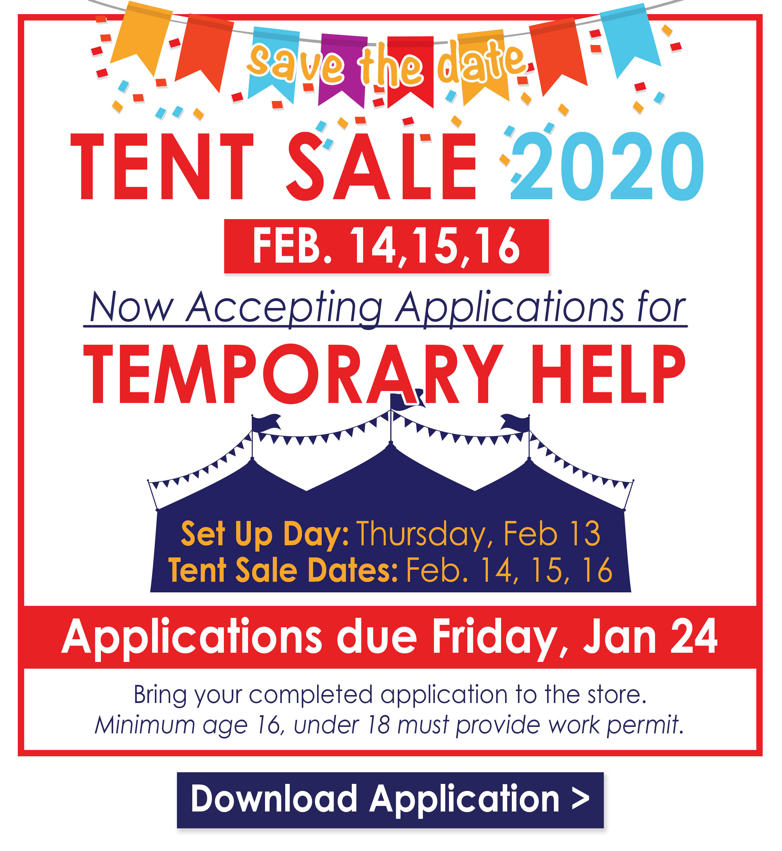 Download the Tent Sale Temp Application Now!