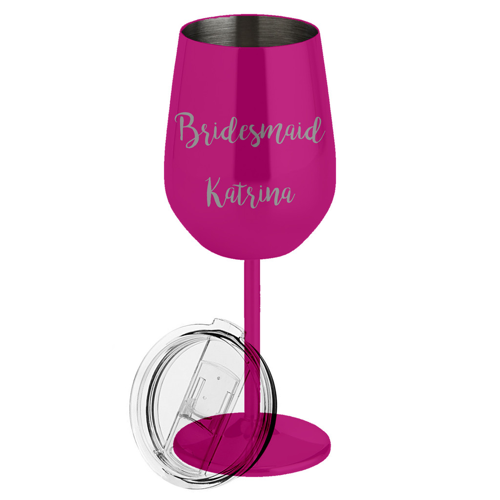 Personalized Bridesmaid Metal Wine Glass