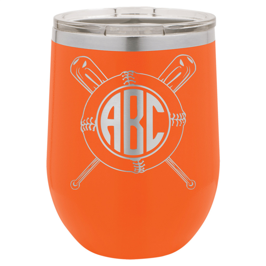 Baseball Softball Monogram - Stemless Tumbler