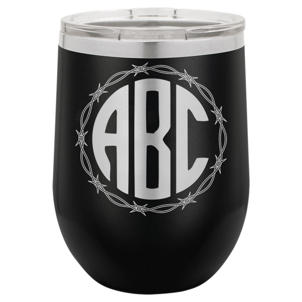 Barbed Wire Monogram - Stemless Tumbler
