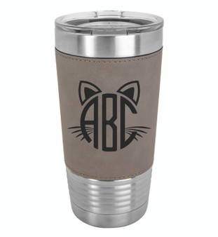 Cat Monogram - 20 oz Leatherette Tumbler