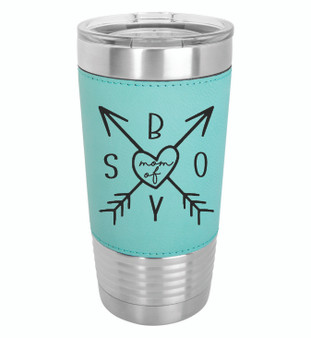 Mom of Boys - 20 oz Leatherette Tumbler