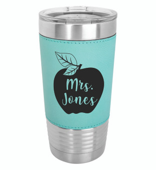 Apple Custom Name - 20 oz Leatherette Tumbler