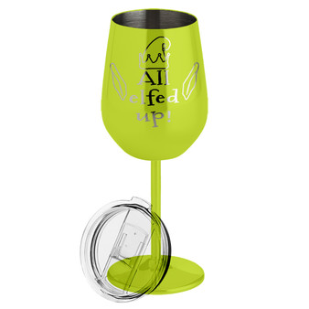 All Elfed Up- Metal Wine Glass
