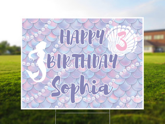 Personalized Mermaid Birthday Yard Sign