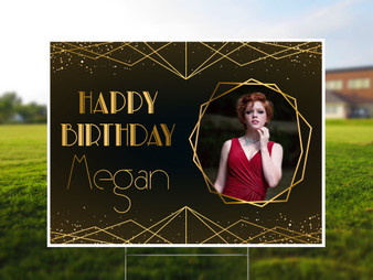 Personalized Art Deco Birthday - Photo Yard Sign