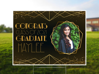 Personalized Art Deco Graduation - Photo Yard Sign