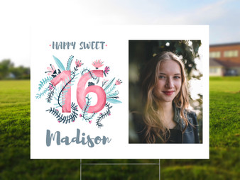 Personalized Sweet 16 Birthday Yard Sign