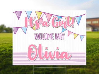 Personalized It's a Girl Yard Sign - Baby Shower Yard Sign