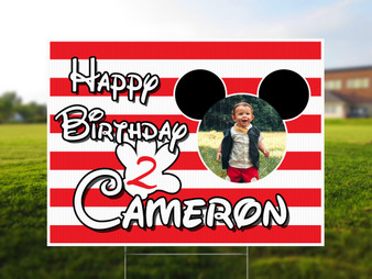 Custom Mickey Mouse Yard Sign with Photo - Birthday Yard Sign