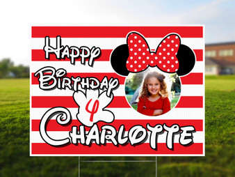 Custom Minnie Mouse Yard Sign with Photo - Birthday Yard Sign