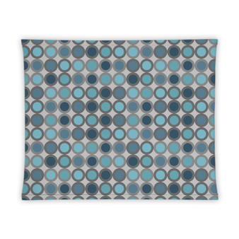 Teal Gray Circle Pattern Gaiter Headband Face Cover