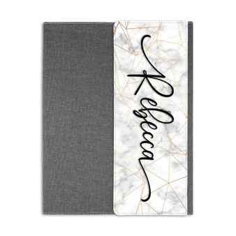 Personalized Marble Portfolio Fold Over Cover with Note Pad