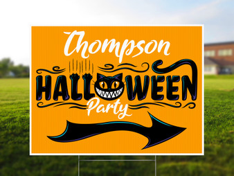 Personalized Halloween Party Directional Yard Sign