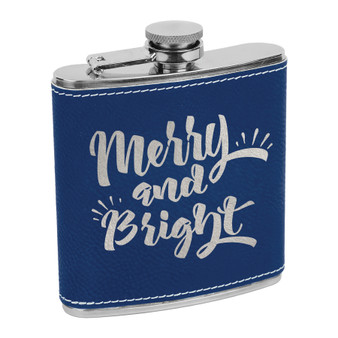 Merry and Bright - 6 oz Leatherette Flask