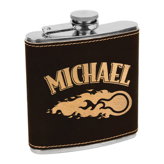 Personalized Fire Ball - 6 oz Leatherette Flask