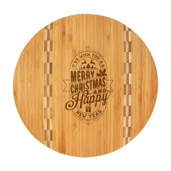We Wish You a Merry Christmas - Bamboo Cutting Board with Butcher Block Inlay