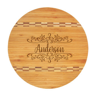 Personalized Botanical Name - Bamboo Cutting Board with Butcher Block Inlay
