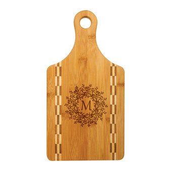 Personalized Monogram Wreath - Bamboo Cutting Board with Butcher Block Inlay
