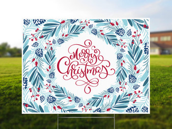 Merry Christmas Winter Wreath Yard Sign