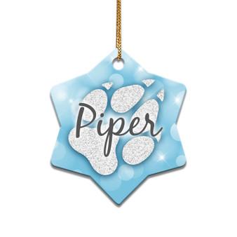 Personalized Paw Print - Ceramic Christmas Ornament