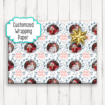 Custom Photo Merry Xmas - Custom Christmas Gift Wrapping Paper
