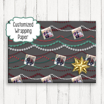 Modern Photo Garland - Personalized Christmas Gift Wrapping Paper