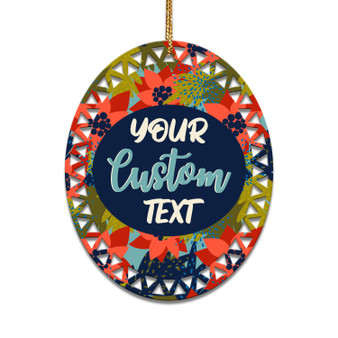 Personalized Colorful Poinsetta - Ceramic Christmas Ornament