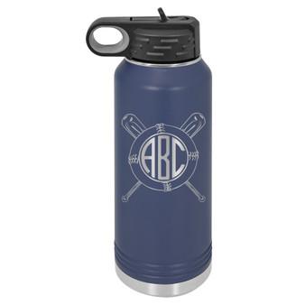 Baseball Monogram - 32 oz Water Bottle