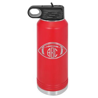 Football Monogram - 32 oz Water Bottle