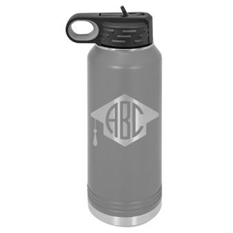 Graduation Cap Monogram - 32 oz Water Bottle