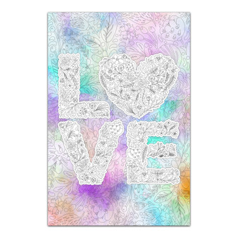 Floral Heart Love - Giant Coloring Poster