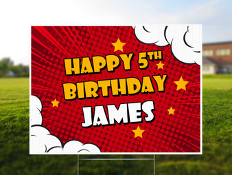 Custom Name Comic Style - Birthday Yard Sign