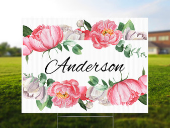 Custom Last Name Floral - Birthday Yard Sign