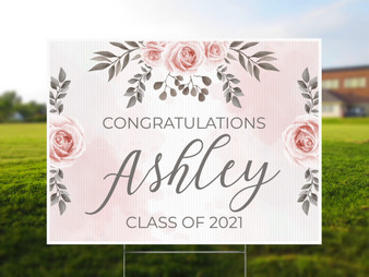 Custom Name Watercolor Rose - Graduation Yard Sign