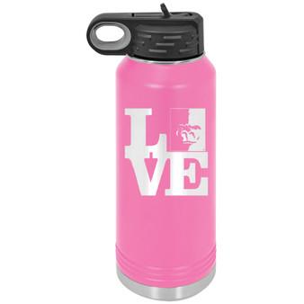 PSU Love Splitface  - 32 oz Water Bottle
