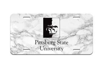 White Marble PSU Gorilla Splitface - Front License Plate