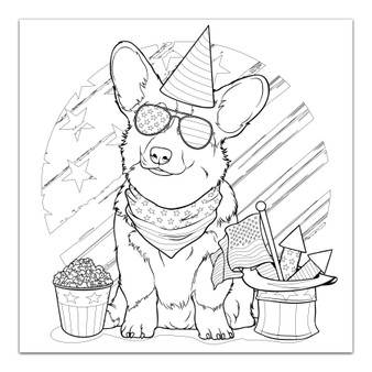4th of July Corgi - Giant Coloring Poster