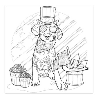 4th of July Dalmatian - Giant Coloring Poster