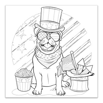 4th of July Pug - Giant Coloring Poster