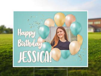 Custom Photo Teal Balloon Birthday - Yard Sign
