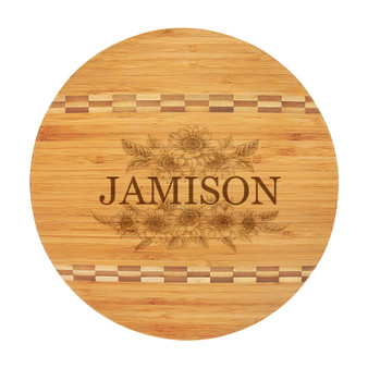 Personalized Sunflower Name - Bamboo Cutting Board with Butcher Block Inlay