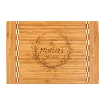 Personalized Floral Wreath - Bamboo Cutting Board with Butcher Block Inlay