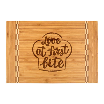 Love at First Bite - Bamboo Cutting Board with Butcher Block Inlay