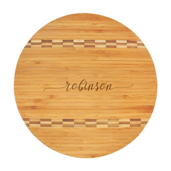 Personalized Script Name - Bamboo Cutting Board with Butcher Block Inlay