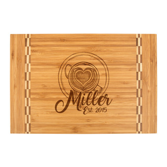 Personalized Coffee Cup Heart - Bamboo Cutting Board with Butcher Block Inlay